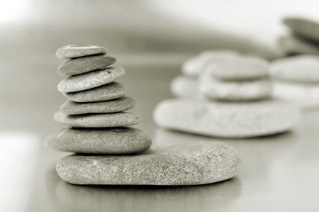 chakras: a pile of zen stones in black and white