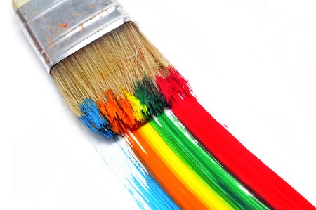 paint palette: a brush with paint and brushstrokes of different colors in a white background Stock Photo