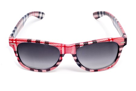 plaid sunglasses isolated on a white background photo