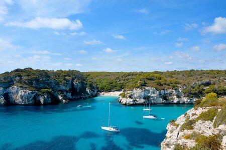 view of Macarelleta beach in Menorca, Balearic Islands, Spain photo