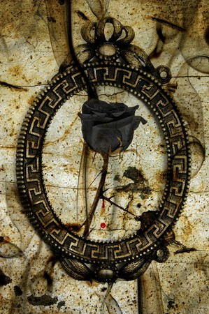 designe: a black rose in a frame on an emo background with blood and smoke