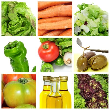 a collage of nine pictures of different vegetables to make a salad Stock Photo - 7905059