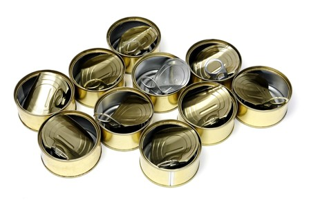 pulltab: a pile of open cans isolated on a white background Stock Photo