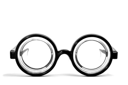 eye glass: short-sighted glasses isolated on a white background