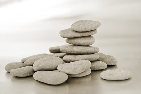 a pile of zen stone in black and white photo