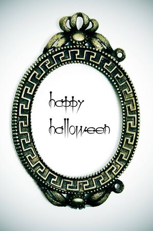 Happy Halloween written in an emo frame on a vignetting background photo