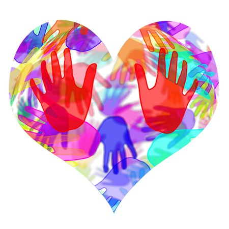 handprints: heart with hands of different colors on a white background