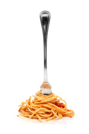 a pile of spaghetti rolled in a fork isolated on a white background Stock Photo - 7985074