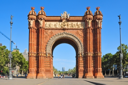 A lateral view of Arc de Triomf in Barcelona, Spain photo