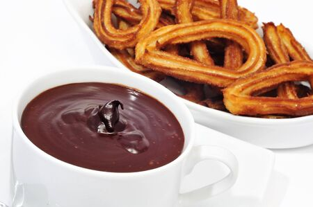 churros con chocolate, a typical Spanish sweet snack Stock Photo - 7994653