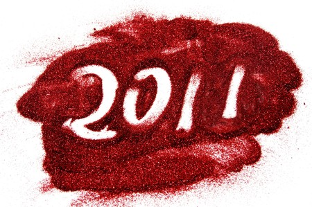 0 1 year: 2011 drawing with glitter on the white background