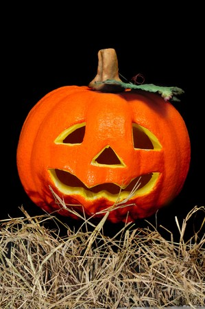 closeup of a jack-o'-lantern on a black background Stock Photo - 8027168