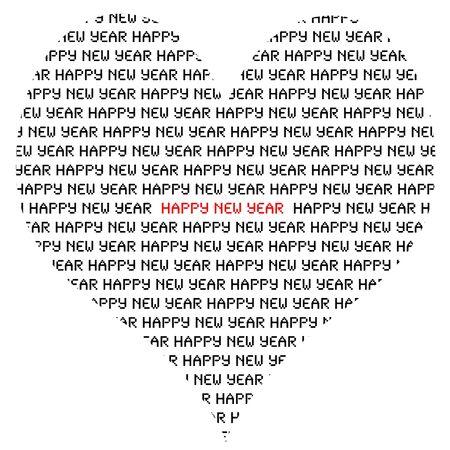 fin de ao: Feliz a�o nuevo escrito dentro de un coraz�n sobre un fondo blanco
