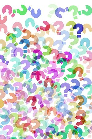 interrogatory: question marks of different colors drawn in a white background Stock Photo