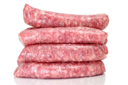 a pile of pork meat sausages isolated on a white background Stock Photo - 8076349