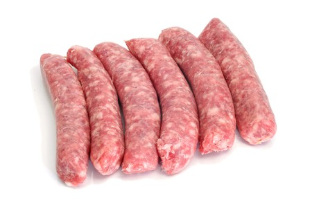 a pile of pork meat sausages isolated on a white background Stock Photo - 8076326