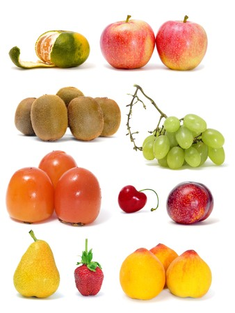 a collage of different fruits on a white background Stock Photo - 8076352