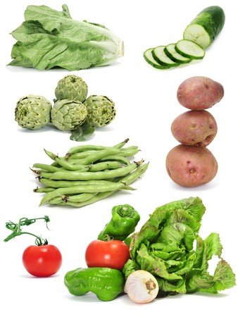 a collage of different vegetables on a white background photo
