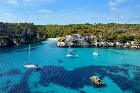 view of Macarelleta beach in Menorca, Balearic Islands, Spain
