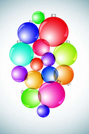 vignetted: christmas balls of different colors drawn on a vignetted background  Stock Photo