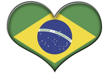 green heart: a heart with the flag of Brazil isolated on a white background