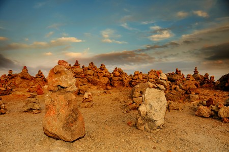 inukshuk: a landscape with a lot of stone stacks in Menorca, Balearic Islands, Spain Stock Photo