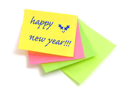 happy new year written in post notes of different colors Stock Photo - 8162119