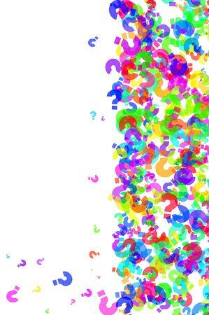 kwis: vraag tekens van verschillende kleuren getekend op een witte achtergrond Stockfoto