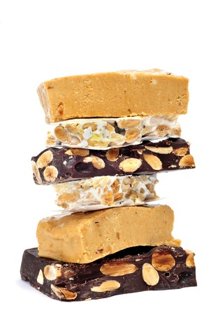 some pieces of different kind o turron, typical Christmas sweet of Spain photo