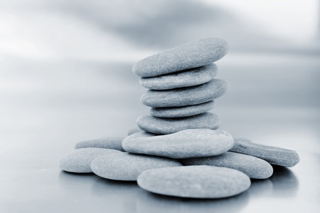 a pile of zen stones in black and white Stock Photo - 8220021