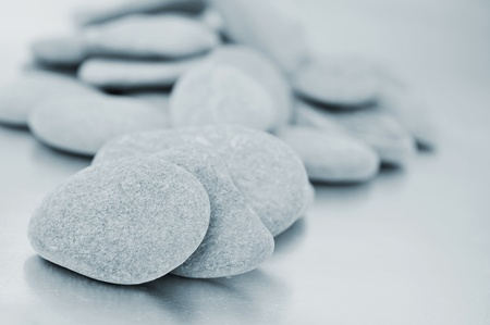 karesansui: a pile of zen stones in black and white