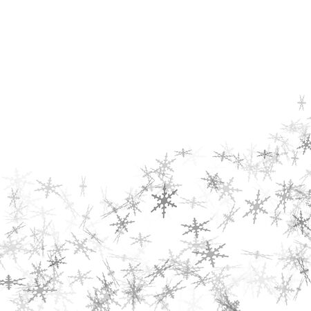 crystallization: grey snowflakes drawn on a white background Stock Photo