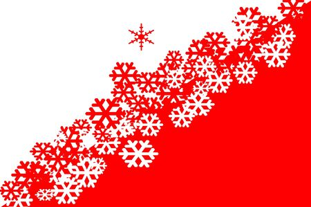 red and white snowflakes drawn on a red and white background Stock Photo