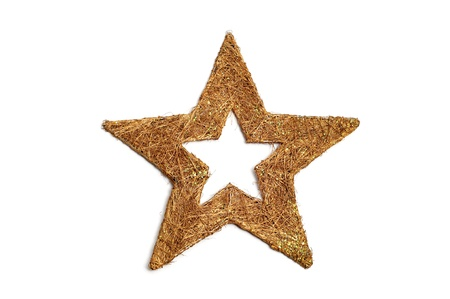 a golden christmas star on a white background  photo