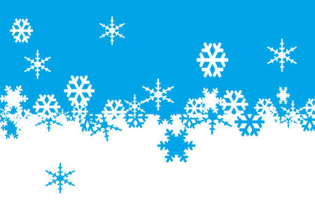 crystallization: white and blue snowflakes drawn on a white and blue background Stock Photo