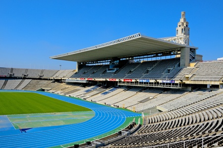montjuic: Barcelona, Spain - May 23, 2010 - A view of Estadi Olimpic Lluis Companys, that hosted the Olympic Games of Barcelona in 1992