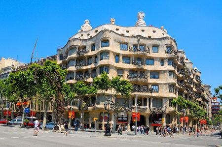 gaudi: Barcelona, Spain - May 23, 2010 - A view of Casa Mila, or La Pedrera designed by Antoni Gaudi