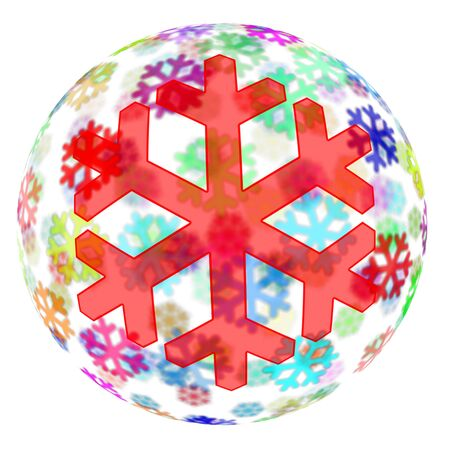 crystallization: spehere with snowflakes of different colors drawn on a white background