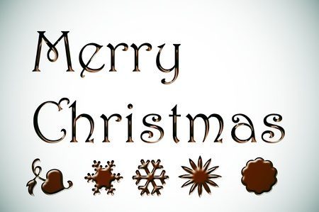 merry christmas written in chocolate on a white background Stock Photo - 8327173