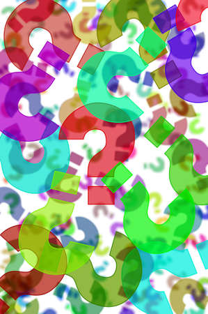 question marks of different colors drawn on a white background Stock Photo - 8327175