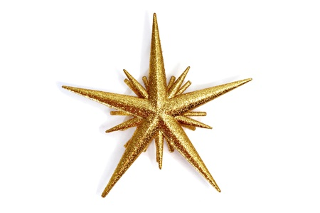 ornamentations: a golden christmas star on a white background
