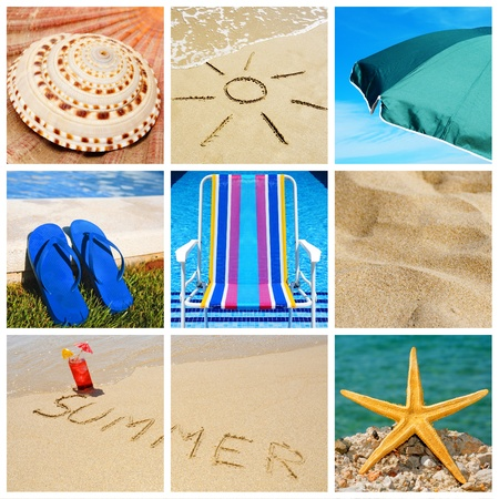beach drink: a collage of nine pictures of many beach items and scenes