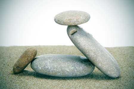 background made with zen stones in the sand Stock Photo - 8327170