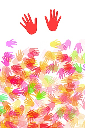 hands of different colors drawn on a white background Stock Photo - 8327238
