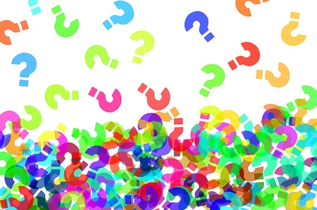interrogativa: signos de interrogaci�n de diferentes colores sobre un fondo blanco