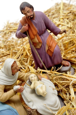 figures representing nativity scene on white background Stock Photo - 8387964