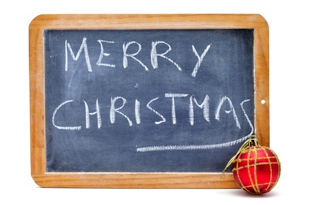 sentence merry christmas written with choalk in a blackboard Stock Photo - 8399718