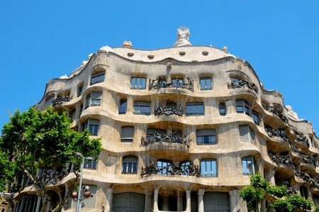 barcelona spain: Barcelona, Spain - May 23, 2010: Casa Mila, or La Pedrera, the famous building designed by Antoni Gaudi Editorial