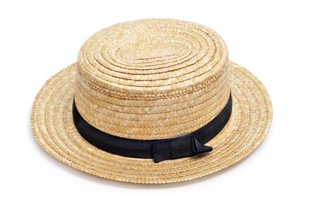 boater: a straw hat isolated on a white background