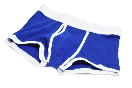 undergarment: blue mens boxer briefs isolated on a white background